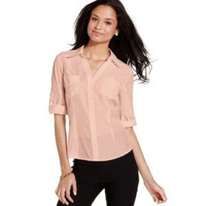 BCX Juniors' Roll-Tab-Sleeve Shirt in Pink Size XL